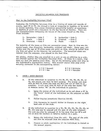 Page from BSA's Ineligible Volunteer Desk Manual