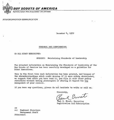 Boy Scouts Letter to all Scout Executives regarding Maintaining Standards of Leadership