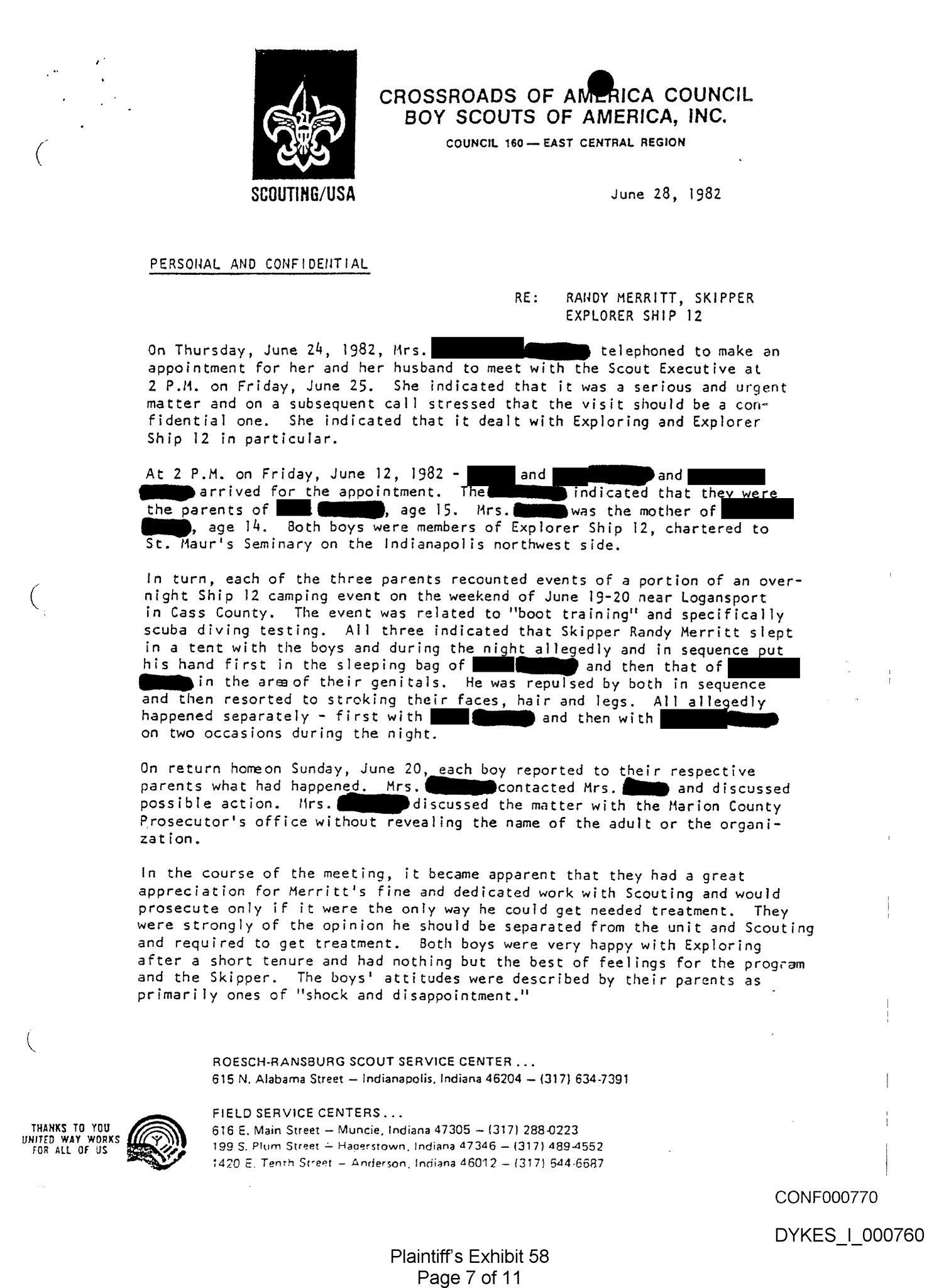 Merritt – Letter from BSA